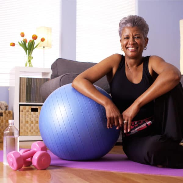 Healthy older woman exercising