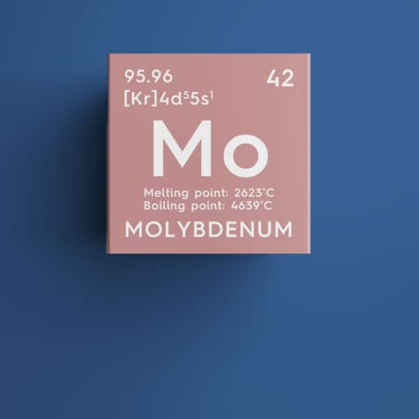 Molybdenum chemical element over blue background